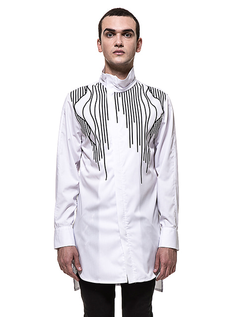 White High-neck Linear Shirt