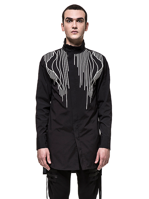 Black High-neck Linear Shirt