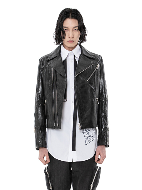Taped Glossy Leather Rider Jacket