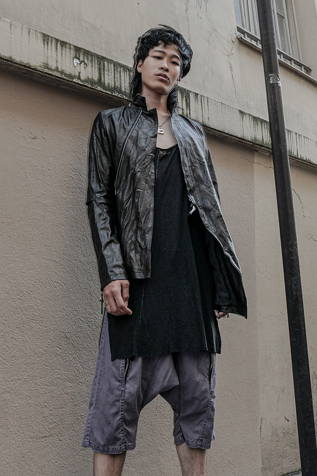 Goat Asymmetric Leather Jacket