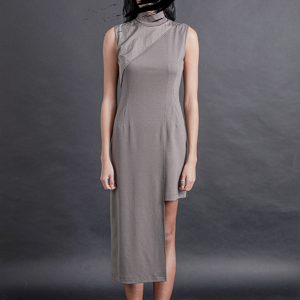 Khaki Asymmetric Dress