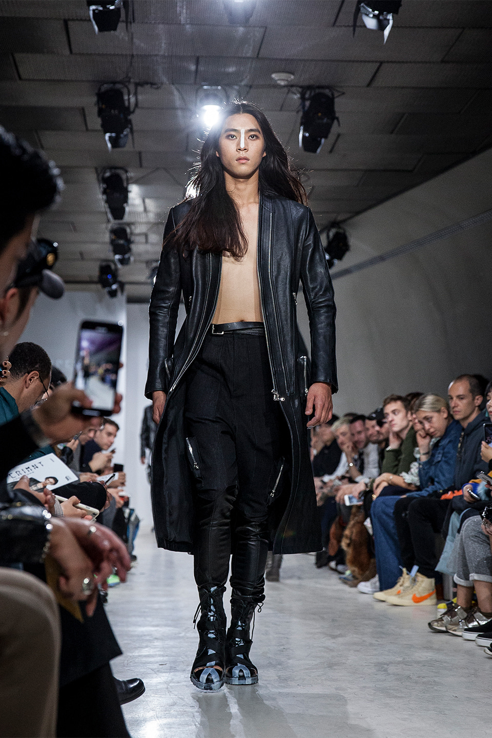 666 Leather Long Coat
